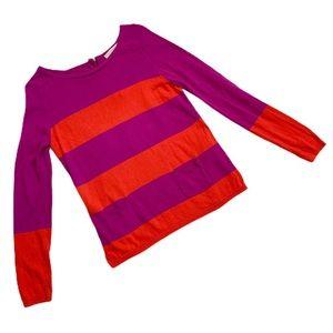 Loft Bright Orange & Purple Sweater Medium